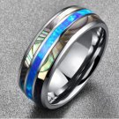 Simple Shell-inlaid Tungsten Gold Ring Blue Opal Men's Ring Engagement Ring Men's Creative Jewelry