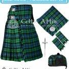 Scottish 8Yard CAMPBELL ANCIENT TARTAN KILT -FlyPlaid,Pin,Glengarry, Flashes- Custom Waist & Length