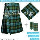 Men's Scottish 8 Yard GUNN ANCIENT TARTAN KILT - Fly Plaid, Pin, Glengarry, Flashes - Size 44