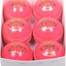 6 Cricket Balls, Pink Balls, 156g 4piece Cricket ball Premium Quality Leather (Pack of 6 balls)