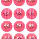12 x Cricket Balls 156g Pink BALL 4piece Premium Leather, Training & Match Ball