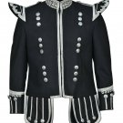100% Wool New Scottish Black Military Piper Drummer Doublet Tunic Jacket All Sizes