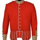 100% Wool Blend white Trim Red Military Doublet Pipe Band Jacket - Doublet Pipe Band Jacket