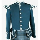 100% Wool Blend Military Piper Drummer Doublet Highland Green Color Military Jacket