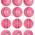 Pink Leather Cricket Hand Stitched Balls 5.5oz Training & Match Ball (Pack of 12)