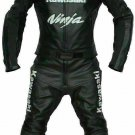 Kawasaki Customized Size Men's Motorcycle Motorbike Biker Racing Leather 1 and 2 Piece Suit