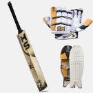 HS 41 PRO Deal English Willow Cricket Bat, Batting Gloves, Cricket Pads