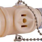 GE Socket Adapter, Pull Chain Control, Polarized, 2-Prong Outlet, Perfect for Workshop