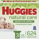 Huggies Natural Care Sensitive Baby Wipes, Unscented, 3 Refill Packs (624)