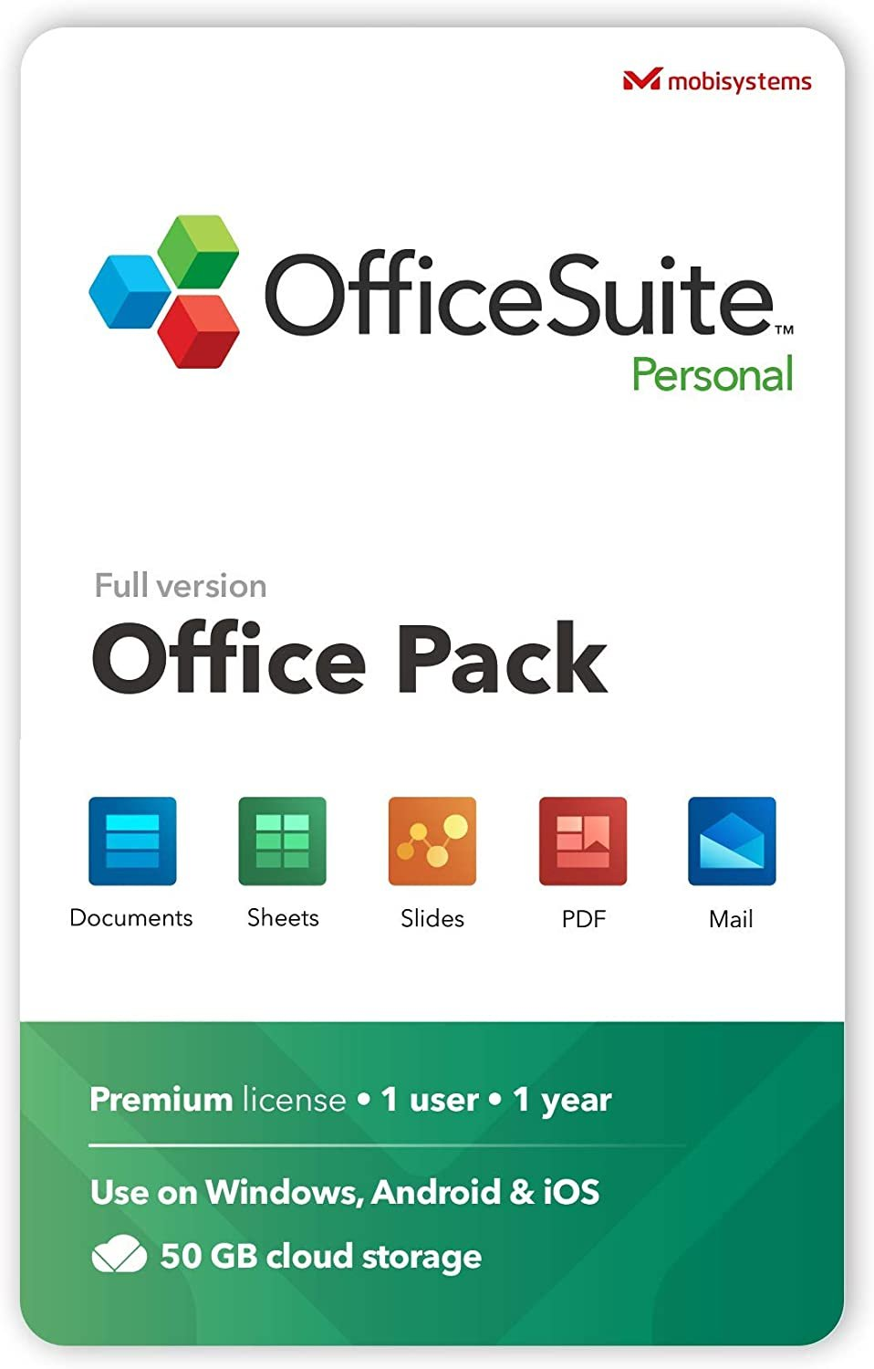 OfficeSuite Personal Compatible with Microsoft Excel& PowerPoint and Adobe PDF 1 Year License