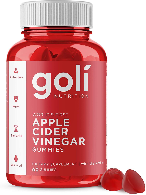 Apple Cider Vinegar Gummy Vitamins by Goli Nutrition - 60 gummies,Gluten-Free,Vegan, Vitamin B9,B12
