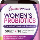 Doctor's Recipes Women's Probiotic, with Organic Prebiotics Cranberry, Digestive Immune Vaginal
