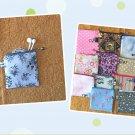 Gray Wild Flowers Mini Fabric Zipper Pouch Handmade
