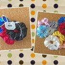 Mini Satin Scrunchies Ponytail Holders 3 Piece Set Red Black Blue Handmade