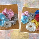 Mini Satin Scrunchies Ponytail Holders 3 Piece Set Baby Blue Pink Silver Handmade