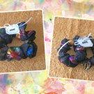Beaded Iridescent Butterly Organza Scrunchies Ponytail Holders 3 Piece Set Handmade