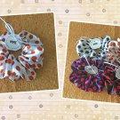 White Brown Polka Dots Large Satin Scrunchie Ponytail Holder Handmade