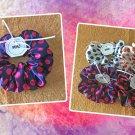 Navy Blue Red Polka Dots Large Satin Scrunchie Ponytail Holder Handmade