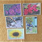 Assorted Wildlife and Florals Postcards Set of 5 Handmade