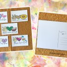 Assorted Peace Love Summer Beach Fun and Florals Postcards Set of 5 Handmade