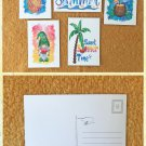 Assorted Hello Summer Postcards Set of 5 Handmade