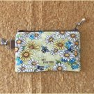 Bumble Bee and Daisy Flowers Fabric Zipper Pouch Handmade