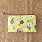Ladybugs with Flowers Fabric Zipper Pouch Handmade