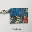 Blue and Orange African Fashion Fabric Fold Over Pouch Handmade
