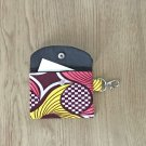 Maroon Pink and Yellow African Fashion Fabric Mini Card Wallet Handmade