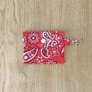 Red Paisley Bandana Fashion Fabric Mini Card Wallet Handmade