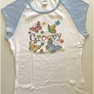Whimsical Groovy Butterfly Flowers Jr Ladies Cap Sleeve T-Shirt Large