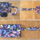 Butterfly Collage Fabric Wristlet Pouch Handmade