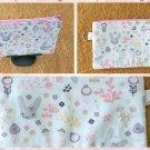 Woodland Rabbits Fabric Zipper Pouch Handmade