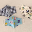 Reusable Washable Cotton Fabric Face Mask Triple 3 Layers for Kids Handmade