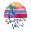 Summer Vibes Watercolor Bubble Free Sticker
