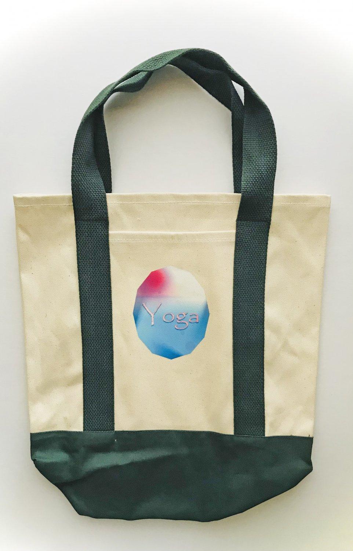 Watercolors Yoga Themed Two Tone Shopping Tote Bag