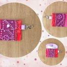 Red Purple Ombre Geometric pattern Fashion Fabric Mini Card Wallet Handmade