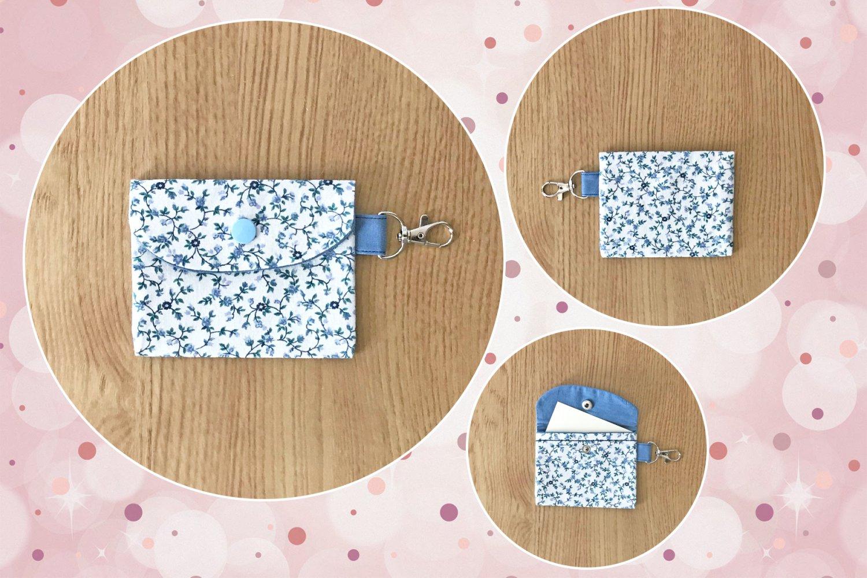Blue Floral pattern Fashion Fabric Mini Card Wallet Handmade