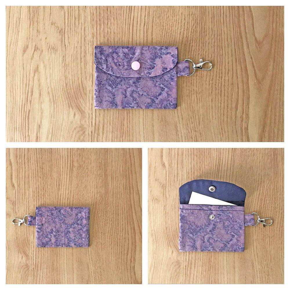Purple Marble pattern Fashion Fabric Mini Card Wallet Handmade