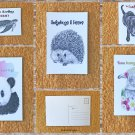 Assorted Animals and Wildlife Greetings Message Postcards Set of 5