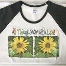Floral All Things Grow with Love Gardening Ladies Cap Sleeve Raglan T-Shirt XL