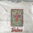 Believe Mosaic Cross Cotton Blend Youth T-shirt Medium