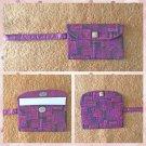 Maroon Geometric Pattern Fabric Wristlet Pouch Handmade