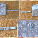 Tan with White Floral Pattern Fabric Wristlet Pouch Handmade