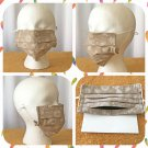 Reusable Brown White Floral Cotton Fabric Face Mask Pleated Fit Handmade