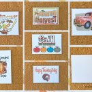 Assorted Fall Autumn Harvest Thanksgiving Message Greetings Postcards Set of 6