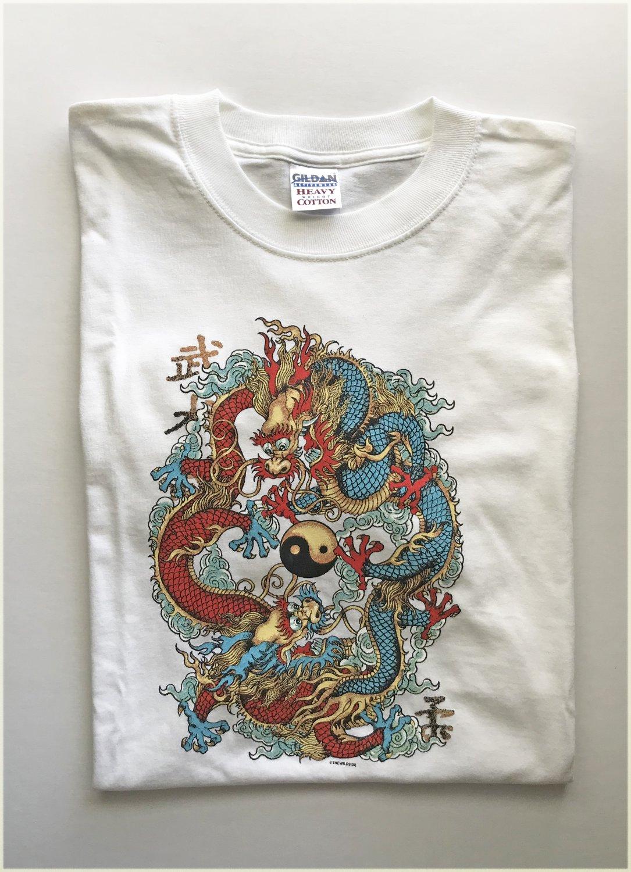 Yin Yang Dragons Long Sleeve Cotton Unisex T-shirt Large