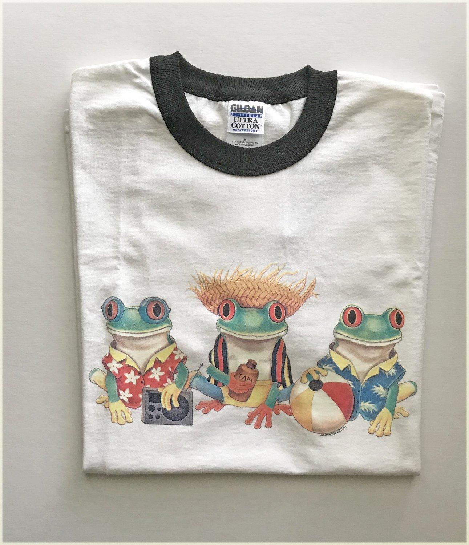 Frogs On Beach Vacation Ringer T-shirt Medium