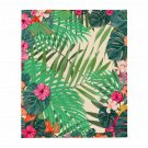 Floral Palm Leaves Throw Blanket