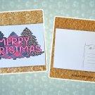 Buffalo Plaid Merry Christmas Trees Postcard